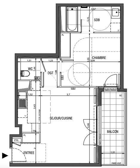 Appartement, 50 m² Au se…