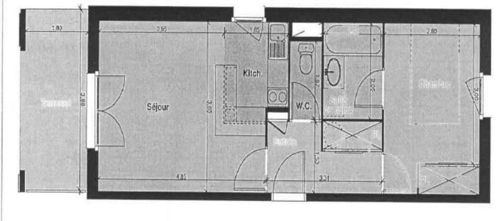Appartement, 39 m² Manda…