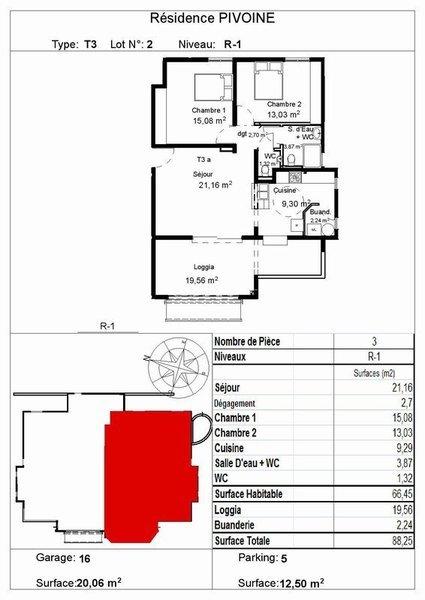 Appartement, 68,69 m² Appar…